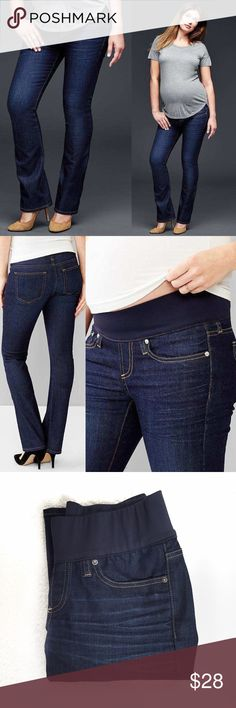 49c7db702097 GAP Maternity Perfect Boot Jeans Demi panel perfect bootcut maternity jeans  in Dark Wash. Light fading and whiskering. Five-pocket styling with faux  fly.