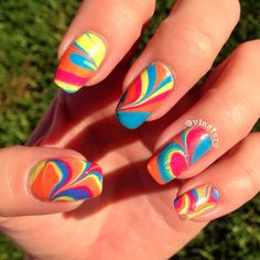 Colorful Watermarble Nail Art