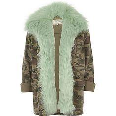 Khaki camo mint faux fur lined army jacket