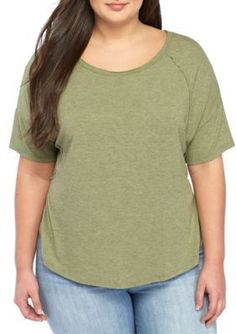 True Craft Girls' Plus Size- Plush Short Sleeve Tee - Olive Tree - 2X