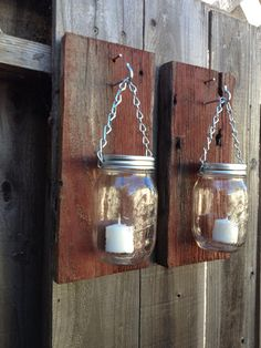 Love these Barn wood mason jar candle sconces by Thesalvagednail on Etsy, $35.00