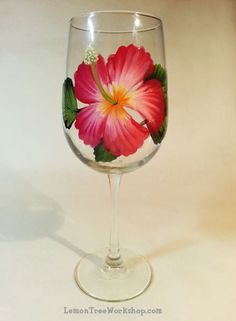 Hibiscus Hand Painted Wine Glass by LemonTreeWorkshop on Etsy