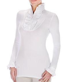 Look at this #zulilyfind! Elizabeth Daniel New York White Ruffle Button-Front Top by Elizabeth Daniel New York #zulilyfinds
