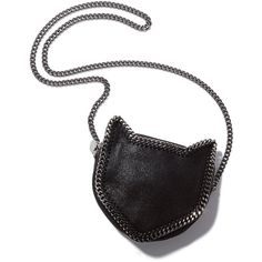Stella McCartney Cat Cross Body Bag Goop found on Polyvore featuring bags, handbags, shoulder bags, cats, bolsos, black, purses, cat handbags, man bag and handbags crossbody