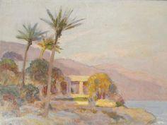 Early-20c-Nikolai-Becker-Oil-Painting-Study-Mediterranean-Palm-Tree-Coastline