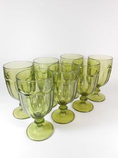 Green Glassware Set Libbey Duratuff Water by A2ndlifeVintage, $39.95