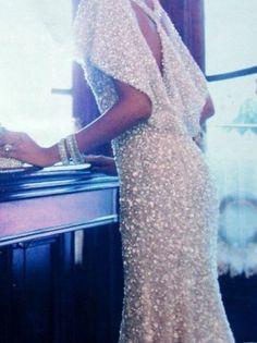 gorgeous white bead gown