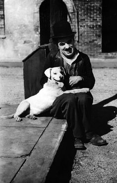 """Charlie Chaplin and """"Scraps"""" from the famous silent film: """"A Dog's Life"""" Vevey, Charlie Chaplin, Charles Spencer Chaplin, Physical Comedy, Dog Best Friend, Iconic Photos, Silent Film, Animal Quotes, Happy Dogs"""