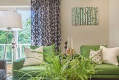 Kelly green was a major accent color in our design. These vibrant lounge chairs are from Design Within Reach.