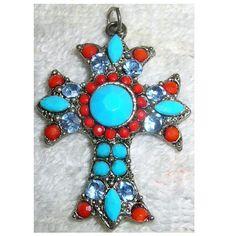 Vintage Cross Pendant Turquoise Coral Glass Stones TREASURY ITEM. $23.00, via Etsy.