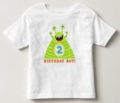 "Second birthday shirt for boys. This 2nd birthday party tee shirt features an illustration of a funny little monster with the number two (2) on his belly. He is cheering and looking happy. Below is the text ""birthday boy"". Add a custom name or other text. A fun and colorful t-shirt design for a little boy's 2:nd birthday party."
