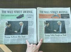 Two Editions of 'Wall Street Journal' Bear Opposite Headlines About Trump Usa Today, New York Times, Calling All Angels, Media Bias, Open Your Eyes, Wall Street Journal, Thats The Way, Conspiracy Theories, Fake News