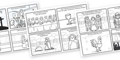 The Easter Story Sequencing Cards - FREE on twinkl in colour and black and white Easter Coloring Sheets, Easter Colouring, Colouring Sheets, Sequencing Cards, Story Sequencing, Lion And The Mouse, Jesus Is Alive, Easter Books, Easter Story