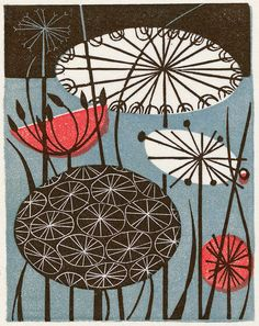Clocks - wood engraving by Angie Lewin - printmaker