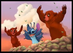 Argh! Crossover image! 12 hours in Photoshop. Thank you for looking! Koda, Stitch & Kenai (C) Disney