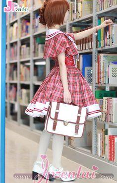 2013新作 クラシカル&ファッション イングランドチェック ショールと蝶結び取り外し可能 改良学園風 ロリータドレス [#JP517201] - 11,424円