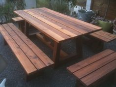 Outdoor Cedar Table & Benches