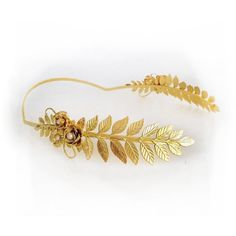 Elenora Blooming Crown Grecian Gold Leaves Wreath Gold Greek Headband... (18405 ALL) ❤ liked on Polyvore featuring accessories, hair accessories, jewelry, gold, headbands & turbans, gold bridal headband, head wrap headband, flower crown headband, bridal flower crown and flower garland headband