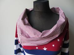 "#American Patriotic #TShirt, #EcoFriendly #upcyled shirt by GarageCoutureClothes on Etsy.  Not all upcycled clothes need to look ""upcycled"".  Cowl neck made from mens shirt sleeves!"