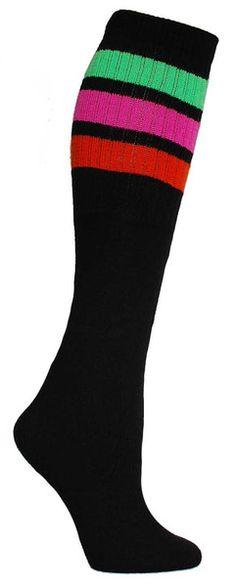 Black knee high tube socks with neon green, pink, and orange stripes. Fits all sizes (no heel). Tube Socks, Novelty Socks, Black Knees, Womens Jordans, Dress Socks, Knee High Socks, Cool Socks, Unique Fashion, Fashion Ideas