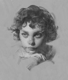 sketch by Wangjie Li Portrait Sketches, Pencil Portrait, Portrait Art, Art Sketches, Art Drawings, Portrait Paintings, Charcoal Art, Academic Art, Figure Sketching