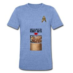 "In Star Trek TOS Episode ""I, Mudd,"" after the android Norman has taken over the Enterprise and is asked by Kirk who and what he is, his reply is to simply show his robot parts via his belly-access-panel. Get your own belly-access-panel today! Concept imagined by Mission Log podcast cohost Ken Ray.  Print Quality = Standard Shirt Quality = High OVERALL = STANDARD"