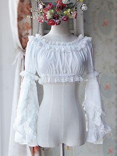 Sweet Chiffon Lolita Short Blouse Long Hime Sleeves Detachable Sleeves Pink White 2 Colors