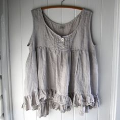 Soft Grey Linen Camisole Size Large Tank Top Ready by MegbyDesign