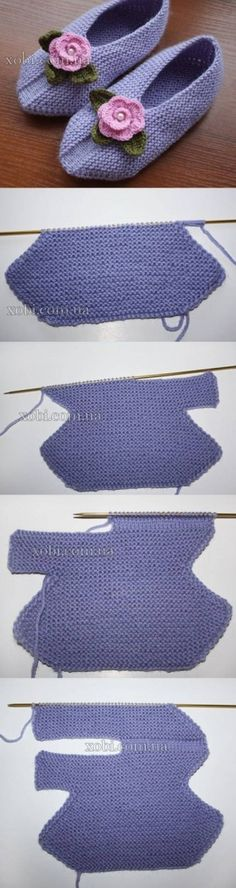 DIY Knitting Slippers - wonder if this could be done with crochet? Diy Knitting Slippers, Crochet Slippers, Knit Or Crochet, Loom Knitting, Knitting Stitches, Free Knitting, Crochet Baby, Baby Slippers, Baby Socks
