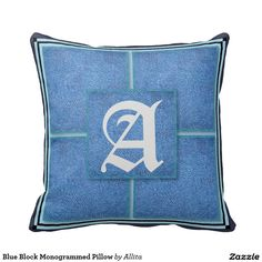 Blue Block Monogrammed Pillow