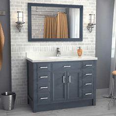 Studio Bathe – Meuble-lavabo Calais de 48 po gris poivre  avec miroir