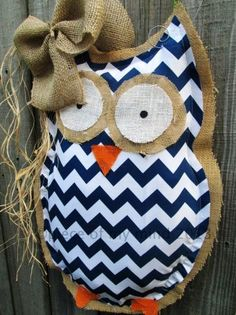 diy burlap bowknot and fabric owl burlap door hanger with blue chevron and straw - metal wire, painted