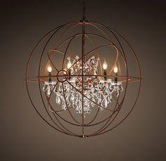 FOUCAULT'S TWIN-ORB CRYSTAL CHANDELIER; crystal drop chandelier inside armillary sphere?