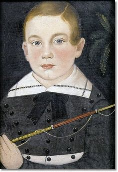 William Matthew Prior - Portrait of a Young Boy in Gray Costume with Black Buttons Holding a Whip c1830
