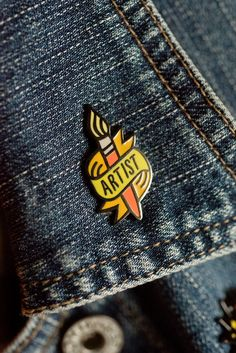 Declare your vocation proudly & loudly! Hard enamel pin measures in length, in width, and comes with 2 rubber pin backs to secure it in place. Gamine Style, Jacket Pins, Cool Pins, Pin And Patches, Hard Enamel Pin, Paint Brushes, Lapel Pins, Pin Collection, Artist