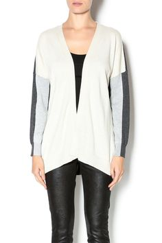 Boyfriend cardigan with an open front and contrast solid grey back.
