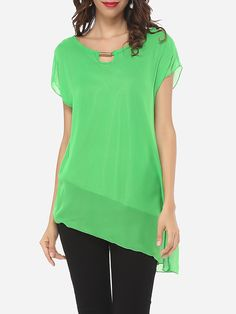 Plain Asymmetrical Hems Delightful Blouses - fashionme.com