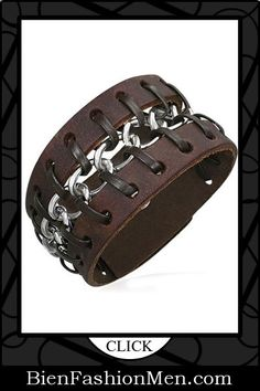 Mens Leather Cuffs   Mens Bracelets   Mens Jewelry   Mens Accessories   Bracelets on Men   Mens Jewelery   Shop Now ♦ Brown Leather with Chain Cuff Bracelet, Fits 7 to 8 Inch $28.95