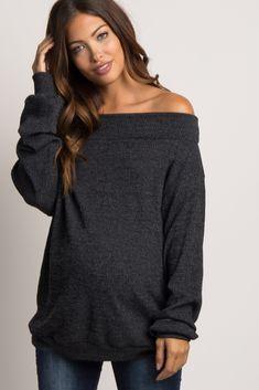 9e8719677f3e5 Black Ribbed Off Shoulder Maternity Sweater