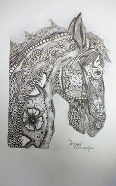 "Zentangle Horses   Trogan"": Original-A4-Zentangle style-ink illustration-Horse"