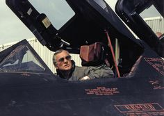 Neil Armstrong sitting in the cockpit of an SR-71 Blackbird 1991