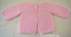 Crochet Baby Cardigan Easy Free Pattern | Free Crochet Patterns and Designs by LisaAuch