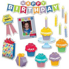 Celebrate student birthdays and create a bulletin board display to highlight the birthdays in every month with this HexaFun Happy Birthday Mini Bulletin Board Set! Classroom Birthday, Birthday Badge, 1st Birthday Banners, Birthday For Him, Birthday Board, Classroom Decor, Birthday Bulletin, Birthday Ideas, Happy Birthday Best Friend