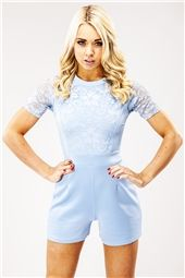 05bf3c20aa04 Michelle Baby Blue Lace Playsuit Lace Playsuit