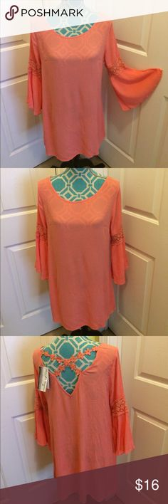 NWT,Blue Pepper vintage Top Blue pepper vintage brand , top . Gorgeous!! Size-medium. Color-coral. Nwt! Bell sleeves. Detailed cross design on back . blue pepper Tops Tunics
