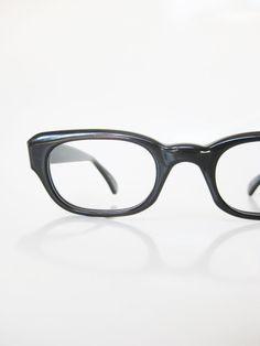 1950s Black Horn Rim Eyeglasses Womens Midnight Obsidian Eyeglass Frames Glasses Optical 50s Mad Men Style Mid Century MCM Mod Deadstock