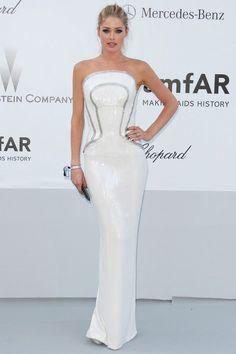 Doutzen Kroes in Atelier Versace at the amfAR gala