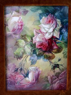 """Museum Quality Masterpiece Limoges France Stunning plaque/ painting on porcelain of still life hand-painted roses, with antique Barbizon golden frame, artist signed """"A. BERTHAUD"""", T&V circa 1892 - 1907."""