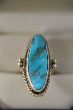 RS Roger Skeet Elongated Turquoise Southwestern Style Size 6 Ring Sterling
