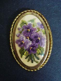 Vintage Petit Point Broach Purple Violets Floral by Goodoldjewelry, $34.99